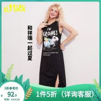 Dress Summer 2020 Small temper black S M L XL Mid length dress singleton  Sleeveless street Crew neck middle-waisted Socket other routine 18-24 years old Type H Goblin's pocket printing More than 95% cotton Cotton 100% Europe and America