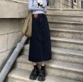skirt Winter 2020 S,M,L black Mid length dress commute High waist Denim skirt Solid color Type A 18-24 years old 31% (inclusive) - 50% (inclusive) Denim cotton pocket Korean version