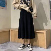 skirt Autumn of 2019 Average size Black, apricot, brown Mid length dress commute High waist A-line skirt Solid color Type A 18-24 years old 31% (inclusive) - 50% (inclusive) Other / other Korean version