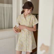 Dress Summer 2020 Decor S,M,L Short skirt singleton  Short sleeve commute Polo collar High waist Decor Single breasted A-line skirt routine 18-24 years old Type A Retro Button 31% (inclusive) - 50% (inclusive)