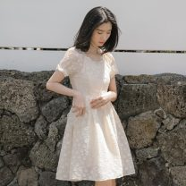 Dress 18-24 years old Summer 2020 Middle-skirt Short sleeve singleton  commute square neck High waist Solid color Condom More than 95% Pleated skirt puff sleeve cotton Type A literature S,M,L