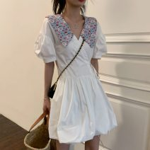 Dress Summer 2021 High quality white Average size Middle-skirt singleton  Short sleeve commute Doll Collar High waist Solid color other A-line skirt puff sleeve Others 18-24 years old Type A Korean version Frenulum 31% (inclusive) - 50% (inclusive) Chiffon polyester fiber