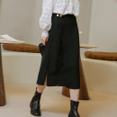 skirt Spring 2021 Average size Gray, black Middle-skirt commute High waist A-line skirt Solid color Type A 18-24 years old 81% (inclusive) - 90% (inclusive) other Button Korean version