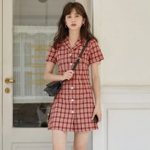 Dress Summer 2020 gules S,M,L Short skirt singleton  Short sleeve commute tailored collar High waist lattice Single breasted A-line skirt routine 18-24 years old Type A literature Button 31% (inclusive) - 50% (inclusive)