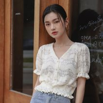 Lace / Chiffon Summer 2021 High quality blue, high quality apricot S,M,L Short sleeve commute Cardigan singleton  Straight cylinder have cash less than that is registered in the accounts V-neck Solid color Petal sleeve 18-24 years old fungus Korean version 31% (inclusive) - 50% (inclusive)