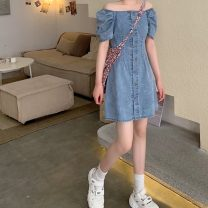 Dress Summer 2021 Premium blue XS,S,M,L,XL Short skirt singleton  Short sleeve commute One word collar High waist Solid color Single breasted A-line skirt Pile sleeve Others 18-24 years old Type A Korean version 31% (inclusive) - 50% (inclusive) Denim