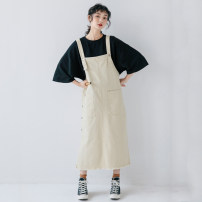 Dress Summer of 2019 Apricot, rust red S,M,L Mid length dress singleton  Sleeveless commute Loose waist Solid color Socket other other straps 18-24 years old Type H Other / other literature 31% (inclusive) - 50% (inclusive) Denim