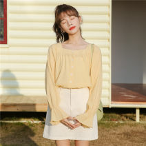 shirt yellow Average size Summer 2020 other 31% (inclusive) - 50% (inclusive) Long sleeves commute Regular square neck Single row multi button pagoda sleeve Solid color 18-24 years old Straight cylinder literature Button