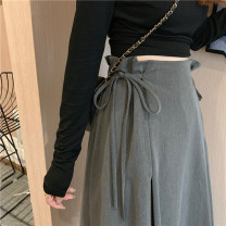 skirt Winter 2020 S,M,L Gray, black Mid length dress commute High waist A-line skirt Solid color Type A 18-24 years old 51% (inclusive) - 70% (inclusive) Other / other Bandage Korean version