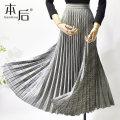 skirt Winter 2020 M L Mid length dress Versatile High waist Pleated skirt lattice Type A More than 95% other After polyester fiber Polyester 100%