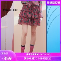 skirt Autumn 2020 XS S M L XL Short skirt commute High waist Pleated skirt Broken flowers Type A 25-29 years old More than 95% An Suo polyester fiber fold Retro Polyester 98% other 2% Same model in shopping mall (sold online and offline)