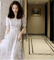 Women's large Summer 2021 Light grey, off white S,M,L,XL,2XL,3XL Dress singleton  commute easy thin Socket Short sleeve Solid color, broken flowers Korean version V-neck polyester Three dimensional cutting routine 25-29 years old Three dimensional decoration Medium length other