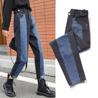 Jeans Spring 2020 Picture color S M L XL 2XL 3XL 4XL 5XL trousers High waist Straight pants routine 18-24 years old Color contrast Dark color Cotton 73.9% viscose (viscose) 14.5% polyester 11.6% Exclusive payment of tmall