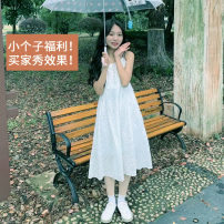 Dress Spring 2021 white S,M,L Mid length dress singleton  Sleeveless commute other High waist Solid color zipper Princess Dress camisole 18-24 years old Type A literature Embroidery, buttons, printing More than 95% cotton
