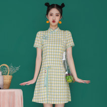 Dress Summer 2021 S,M,L,XL,2XL Short skirt singleton  Short sleeve commute stand collar High waist lattice zipper A-line skirt routine 18-24 years old Type A Retro Make old, button, zipper, print 81% (inclusive) - 90% (inclusive) other cotton