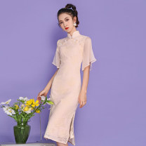cheongsam Spring 2021 S,M,L,XL Apricot Short sleeve long cheongsam Retro High slit daily double-breasted  Solid color 18-25 years old Piping other 51% (inclusive) - 70% (inclusive)