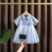 Dress wathet female Dr. Black  80cm,90cm,100cm,110cm,120cm,130cm Cotton 95% other 5% summer lady Short sleeve Solid color Cotton denim Denim skirt two thousand and twenty-one - four . ten - B015 Class A Chinese Mainland Zhejiang Province