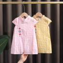 cheongsam 80,90,100,110,120 Lemon yellow , Pink Cotton 95% other 5% Dr. Black  No model summer Solid color Cotton blended fabric 2021-4.11-B003 12 months, 9 months, 18 months, 2 years old, 3 years old, 4 years old, 5 years old, 6 years old, 7 years old Chinese Mainland