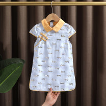 cheongsam 90,100,110,120,130,140 Pink, sky blue Cotton 95% other 5% Dr. Black  No model summer Check pattern Pure cotton (95% and above) Class A 2021-4.10-B06 12 months, 9 months, 18 months, 2 years old, 3 years old, 4 years old, 5 years old, 6 years old, 7 years old, 8 years old Chinese Mainland