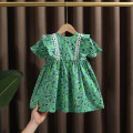 Dress green female Dr. Black  90cm,100cm,110cm,120cm,130cm Cotton 95% other 5% summer princess Short sleeve Broken flowers cotton A-line skirt 2021-4.3-B008 Class A 12 months, 9 months, 18 months, 2 years old, 3 years old, 4 years old, 5 years old, 6 years old, 7 years old Chinese Mainland