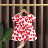 Dress Red, black female Dr. Black  90cm,100cm,110cm,120cm,130cm Cotton 95% other 5% summer leisure time Short sleeve love cotton A-line skirt 2021-4.14-B02 Class A 12 months, 9 months, 18 months, 2 years old, 3 years old, 4 years old, 5 years old, 6 years old, 7 years old Chinese Mainland
