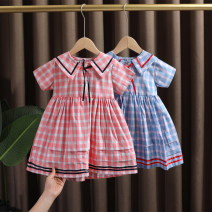 Dress Blue, pink female Dr. Black  90cm,100cm,110cm,120cm,130cm Cotton 95% other 5% summer college Short sleeve lattice cotton A-line skirt 2021-4.7-B006 Class A 12 months, 9 months, 18 months, 2 years old, 3 years old, 4 years old, 5 years old, 6 years old, 7 years old Chinese Mainland