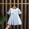 Dress female Dr. Black  90cm,100cm,110cm,120cm,130cm Cotton 95% other 5% summer Korean version Short sleeve Solid color cotton A-line skirt Class A 12 months, 9 months, 18 months, 2 years old, 3 years old, 4 years old, 5 years old, 6 years old, 7 years old Chinese Mainland Zhejiang Province