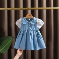 Dress blue female Dr. Black  90cm,100cm,110cm,120cm,130cm Cotton 95% other 5% summer leisure time Short sleeve Solid color Cotton denim A-line skirt Class A 12 months, 9 months, 18 months, 2 years old, 3 years old, 4 years old, 5 years old, 6 years old, 7 years old Chinese Mainland Zhejiang Province
