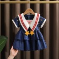 Dress Navy Blue female Dr. Black  80cm,90cm,100cm,110cm,120cm,130cm Cotton 95% other 5% summer college Short sleeve Solid color cotton A-line skirt 2021-4.13-B016 Class A 12 months, 9 months, 18 months, 2 years old, 3 years old, 4 years old, 5 years old, 6 years old, 7 years old Chinese Mainland