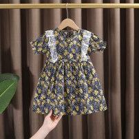 Dress female Dr. Black  Cotton 100% summer Korean version Short sleeve Broken flowers Pure cotton (100% cotton content) A-line skirt 2021.5.5B01 Class A 12 months, 9 months, 18 months, 2 years old, 3 years old, 4 years old, 5 years old, 6 years old, 7 years old, 8 years old Chinese Mainland