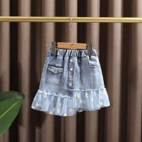 skirt 90cm,100cm,110cm,120cm,130cm,140cm wathet Dr. Black  female Cotton 95% other 5% summer skirt leisure time Daisy Denim skirt Cotton denim 2021-4.13-B07 Class A