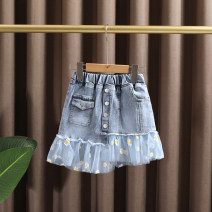 skirt 90cm,100cm,110cm,120cm,130cm,140cm wathet Dr. Black  female Cotton 95% other 5% summer skirt leisure time Daisy Denim skirt Cotton denim 2021-4.13-B07 Class A