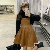 Dress Winter 2020 Strap leather skirt one piece backing sweater one piece Average size Short skirt singleton  Sleeveless commute High waist Solid color Socket A-line skirt straps 18-24 years old Type A Ruifenyue Korean version UASy5s More than 95% other other Triacetate fiber (triacetate fiber) 100%