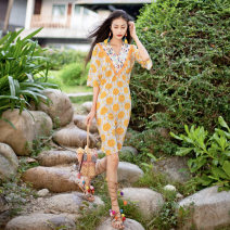 Dress Summer of 2019 yellow Average size longuette singleton  elbow sleeve commute V-neck Loose waist Socket other Others 25-29 years old Madame wood ethnic style 81% (inclusive) - 90% (inclusive) other other