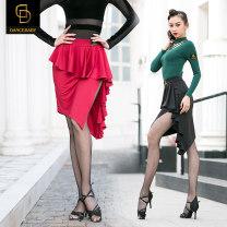 Latin bottom female S M L XL Black red Irregular skirt Dance baby Remba Chacha Samba cowboy bullfight other DQ85 Winter of 2019