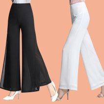 Casual pants 823 red split [elastic waist], 823 black split [elastic waist], 823 white split [elastic waist], 823 red non split [elastic waist], 823 Black Non split [elastic waist], 823 white non split [elastic waist], 823 black split [zipper], 823 red split [zipper] trousers Wide leg pants Versatile