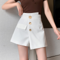 Casual pants White, black S,M,L,XL Spring 2021 shorts Wide leg pants High waist commute routine polyester fiber Korean version Button polyester fiber Asymmetry