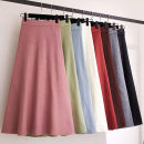 skirt Winter of 2019 Average size Off white, apricot, pink, light blue, orange, coffee, gray, black, light green Mid length dress fresh High waist A-line skirt Solid color Type A 18-24 years old A31 51% (inclusive) - 70% (inclusive) knitting other
