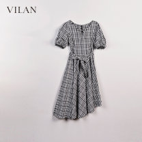 Dress Summer 2020 Black and white 155/80A,160/84A,165/88A,170/92A longuette singleton  Short sleeve commute Crew neck High waist lattice Socket A-line skirt routine Others 25-29 years old Type A Vivian / Huilan Frenulum More than 95% cotton