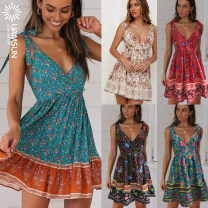 Dress Summer of 2019 No.1 green, No.2 pink, No.3 red, No.4 lake blue, No.5 dark blue S,M,L,XL Mid length dress singleton  Sleeveless street V-neck middle-waisted Big swing 25-29 years old Other / other 93-1126 71% (inclusive) - 80% (inclusive)