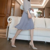 skirt Summer 2021 S M L XL Haze blue (skirt) grey (shirt for bra) Mid length dress commute High waist Irregular Solid color Type A 18-24 years old 14569- More than 95% Jiamanying other Korean version Other 100% Pure e-commerce (online only)