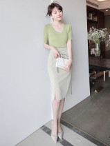 skirt Summer 2021 XS S M L XL Check (skirt) Avocado Green (top) Short skirt commute Natural waist other lattice More than 95% Jiamanying other Simplicity Other 100% Pure e-commerce (online only)