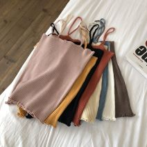 Vest sling Summer 2020 Brown, apricot, white, blue, yellow, black, brick red, lotus root powder Average size singleton  have cash less than that is registered in the accounts Self cultivation Versatile camisole Solid color 18-24 years old 31% (inclusive) - 50% (inclusive) polyester fiber 7129Y