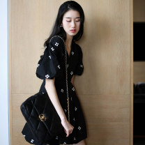 Women's large Summer 2021 Black dress S M L XL 67887DSGSDf Meiqingfen 18-24 years old Other 100%