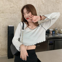 T-shirt Light purple white black sling Average size Summer 2020 Long sleeves Crew neck Straight cylinder have cash less than that is registered in the accounts routine commute other 96% and above 18-24 years old Korean version youth Solid color Gehan Meiyi aZPY3m4 fungus Other 100.00%