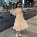 Dress Winter of 2019 white S M L XL Mid length dress singleton  Long sleeves commute stand collar High waist Solid color Socket A-line skirt pagoda sleeve Others 18-24 years old Type A Gehan Meiyi Korean version Lace up with tassels ePa3qte More than 95% other other Other 100.00%