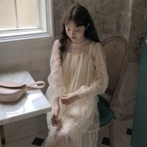 Dress Summer of 2019 Apricot grey blue S M L XL Mid length dress Fake two pieces Long sleeves Sweet Crew neck Loose waist Solid color Socket Ruffle Skirt Lotus leaf sleeve Others 18-24 years old Type H Gehan Meiyi Hollowing out More than 95% other Other 100.00% college Pure e-commerce (online only)