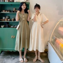 Dress Summer of 2019 S M L XL Middle-skirt singleton  Short sleeve commute tailored collar High waist Solid color other Others 18-24 years old Type A Gehan Meiyi Korean version More than 95% other other Other 100.00% Pure e-commerce (online only)