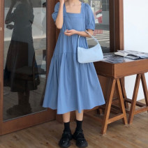 Dress Summer 2020 Blue black Average size Mid length dress singleton  Short sleeve commute square neck High waist Solid color Socket Big swing puff sleeve Others 18-24 years old Type A Gehan Meiyi Korean version Open back lace 2C1P5 More than 95% other other Other 100.00%