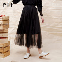 skirt Spring 2020 S M L black Mid length dress High waist More than 95% Pit (clothing) polyester fiber Polyester 100% Same model in shopping mall (sold online and offline)